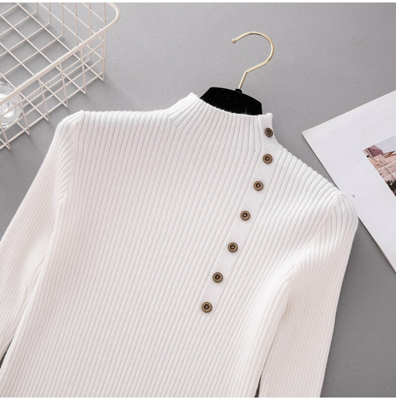 Women's Button Patterned Knitted Sweater